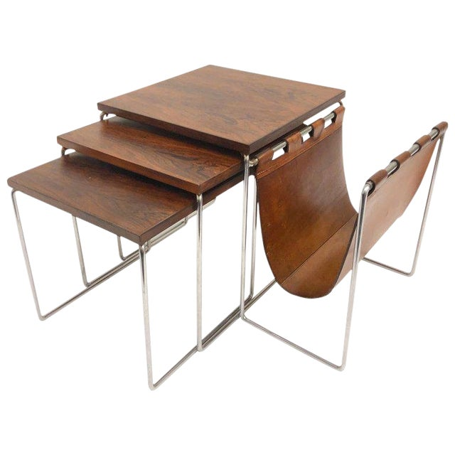 Rosewood and Chrome Nesting Tables - Set of 3 For Sale