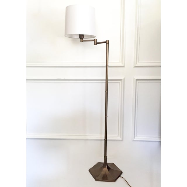 Mid-Century Brass Faux Bamboo Swing Arm Floor Lamp - Image 2 of 8