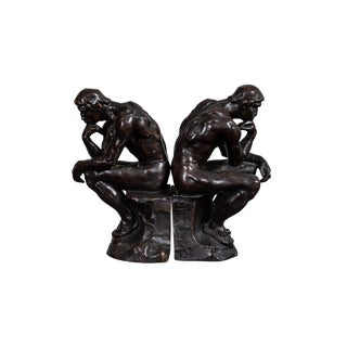 1920's Bronze Bookends by Pompeian Bronze Co. - a Pair For Sale