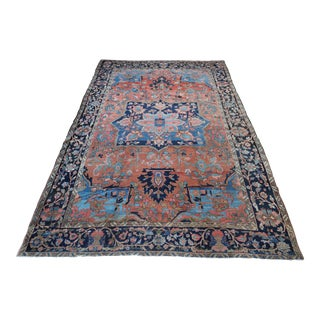 Early 20th Century Antique Persian Heriz Rug - 9′ × 11′ For Sale