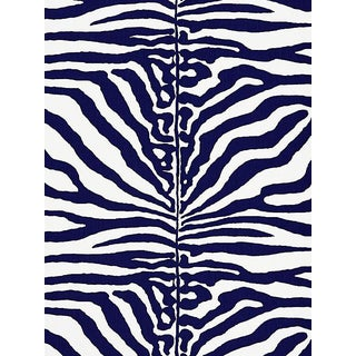 Sample, Scalamandre Zebra, Navy Fabric For Sale