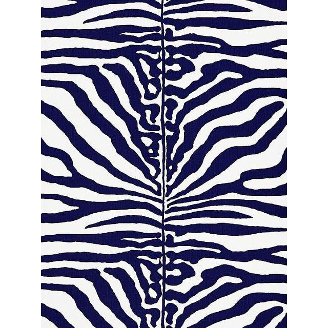 Sample, Scalamandre Zebra, Navy Fabric For Sale
