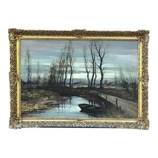Antique Expressionist Framed Oil Painting on Canvas Signed T. Moens For Sale