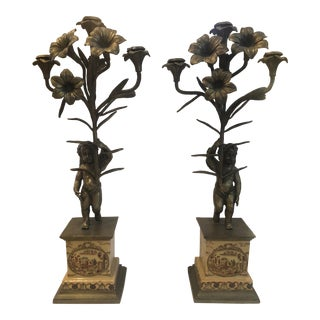Vintage Floral Brass Cherub Candle Holders - A Pair For Sale