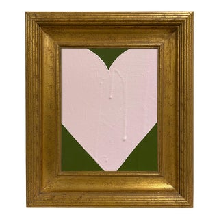 Ron Giusti Mini Heart Forest Light Pink Acrylic Painting, Framed For Sale