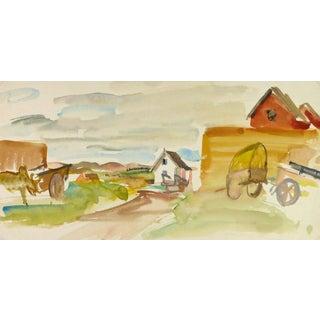 Stephane Magnard, Serene Farm in Watercolors For Sale
