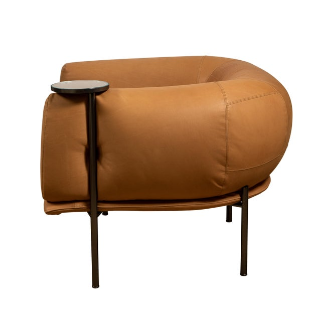 Contemporary Tan Leather Club Chair With Connected Cocktail Table For Sale - Image 3 of 4