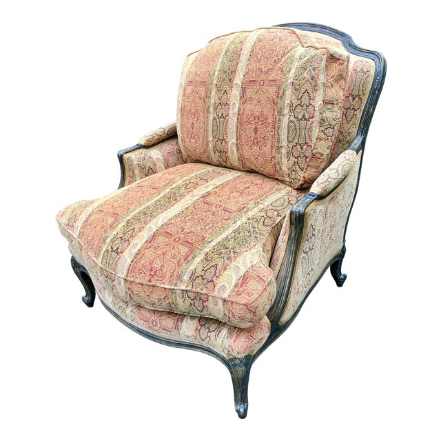 Vintage French Bergere Chair With Paisley Upholstery For Sale