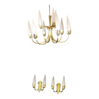 Mid-Century Brass Chandelier and Double Sconces From Stilonovo, Italy - Set of 3 For Sale