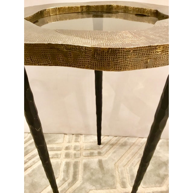 Arteriors Home Modern Barry Dixon for Arteriors Metal Foil and Smoked Glass Drinks Table For Sale - Image 4 of 5