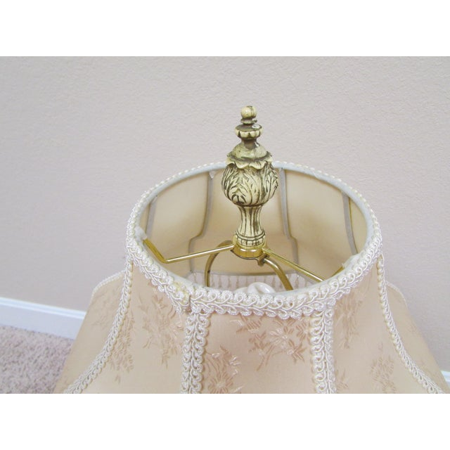 Vintage Italian Pink and Gold Capodimonte Table Lamp With Shade For Sale - Image 9 of 12