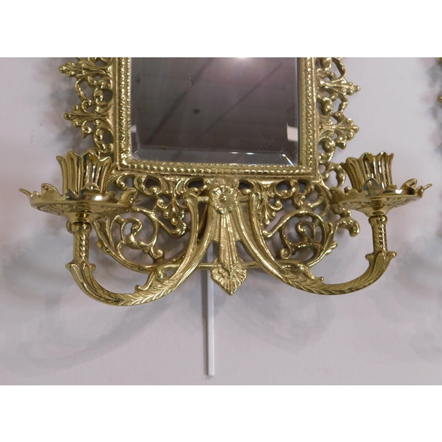 Metal Pair Virginia Metal Crafters Brass Twin Candle Mirrored Sconces, Colonial Williamsburg For Sale - Image 7 of 12