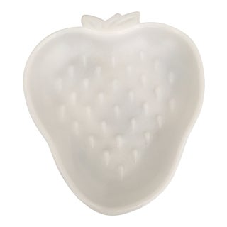Vintage Strawberry Shaped Milk Glass Tray