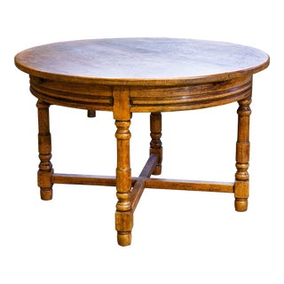 Round French Oak Table with Extension Leaf, circa 1900