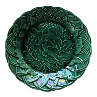 Majolica Basket Weave and Leaves Plate by Edge, Malkin & Co. For Sale