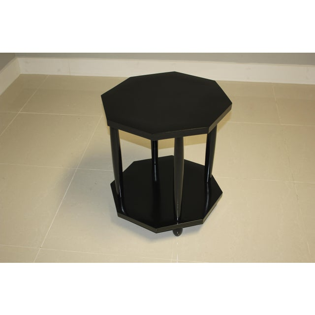 1940s French Art Deco Black Ebonized Coffee / Side Table For Sale - Image 4 of 13
