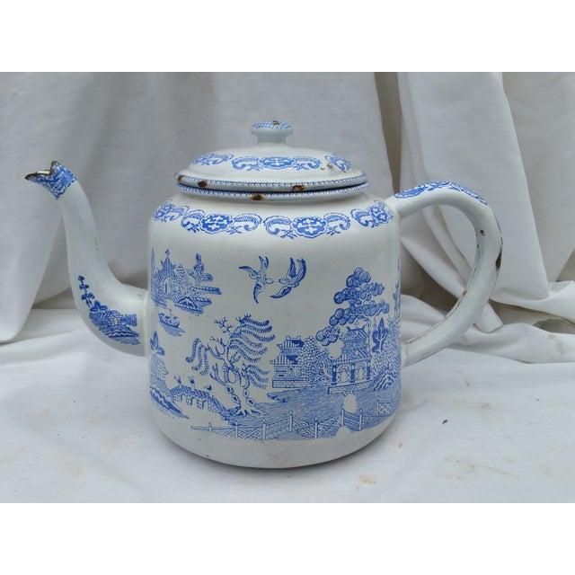 19th Century Enamel Willow Teapot - Image 2 of 5