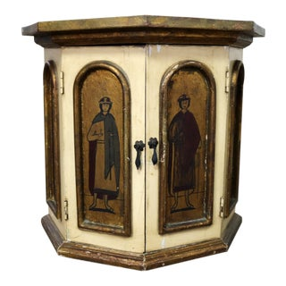 Vintage Hand Painted Octagon Drum Side Table Cabinet Attributed to Arte De Mexico For Sale