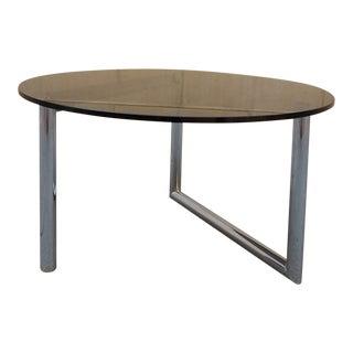 Smoke Glass & Chrome Tube Round Table
