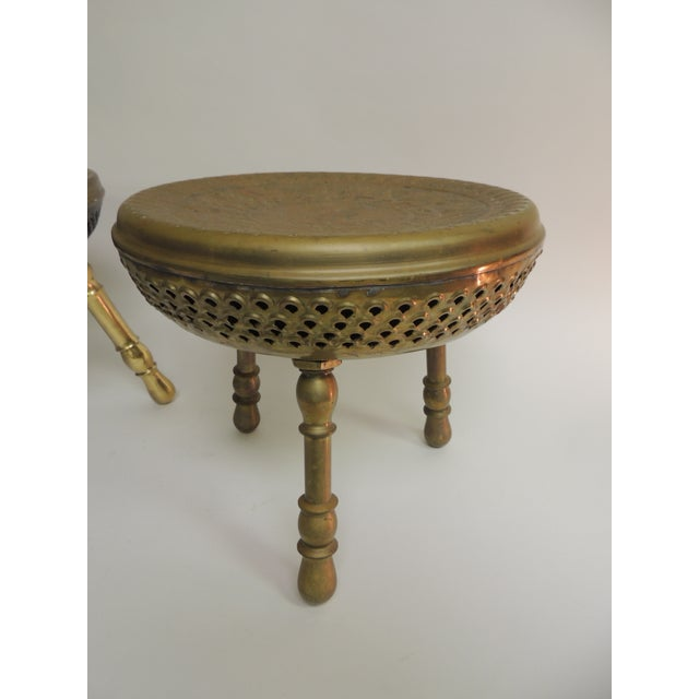 Pair of Vintage Low Round Tripod Indian Low Stools or Tables For Sale - Image 4 of 6