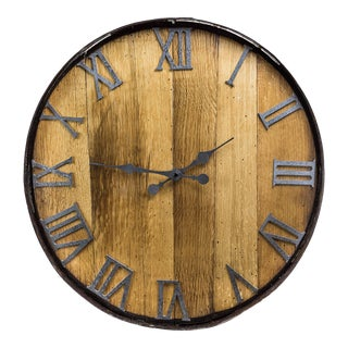 Rustic Barn Wood Clock With Contrasting Metal Trim For Sale