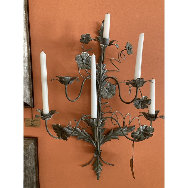 A pair of Italian or French 6 candle wall sconces. Could easily be electrified. Real showstoppers! Purchased from a Palm...