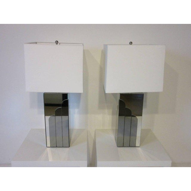 1970s Glamorous Chromed Metal and Mirrored Table Lamps - a pair For Sale In Cincinnati - Image 6 of 6