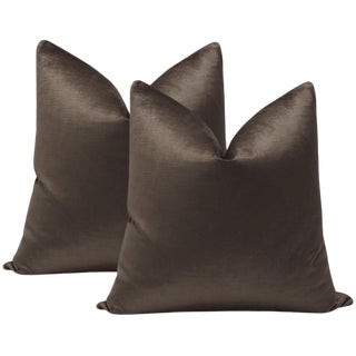 "22"" Otter Luxe Velvet Pillows - a Pair For Sale"