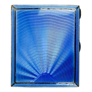 1935 Deco English Sterling & Blue Enamel Cigarette Case For Sale