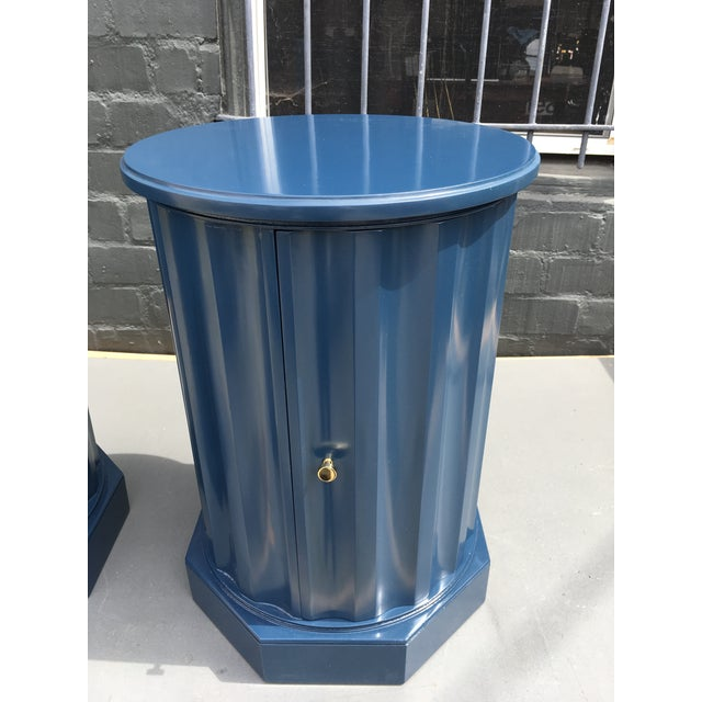 1950s Art Deco Dark Blue Lacquered Column Shaped Drum Tables - a Pair For Sale - Image 9 of 12
