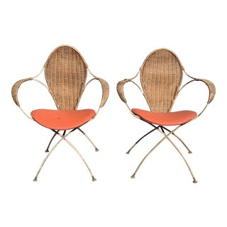 1950s Vintage Wicker and Iron Chairs- A Pair For Sale