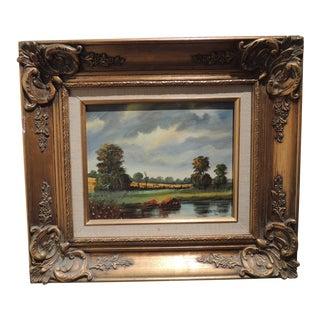 Vintage Mid-Century Montanola California Landscape Gold Framed Oil Painting For Sale