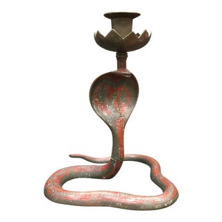 Brass Enameled Cobra Candle Holder