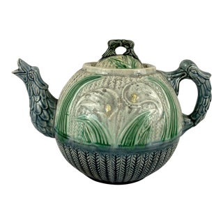 Antique Majolica Calla Lily Teapot For Sale