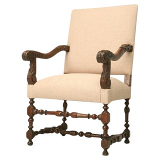 French Louis XIII Style Throne Chair For Sale