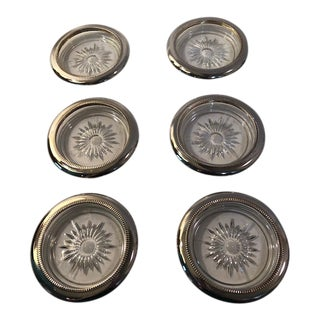 Crystal and Silver Coaster Ashtray Set of 6 For Sale