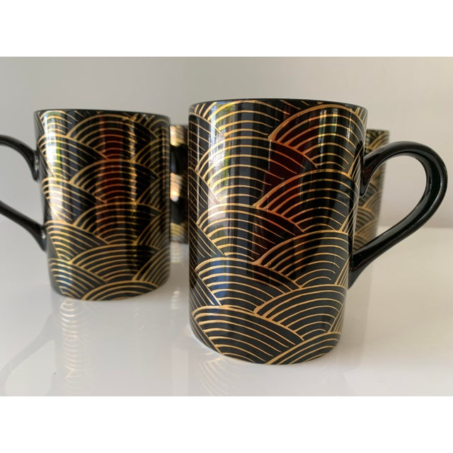 """Art Deco 1980s Fitz and Floyd Art Deco """"Waves"""" Mugs - Set of 4 For Sale - Image 3 of 7"""