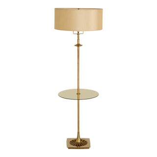 Art Deco Brass and Glass Floor Lamp For Sale
