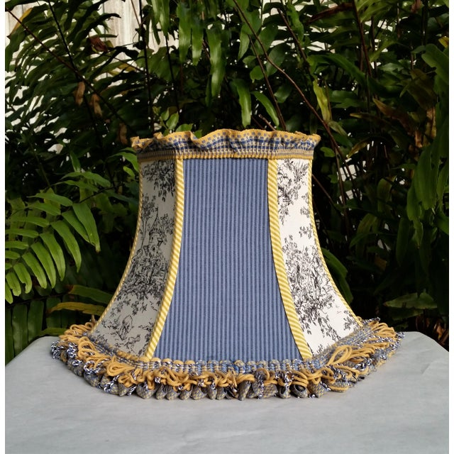 Toile Lampshade Blue Ticking Mustard Stripe Trim For Sale - Image 4 of 10