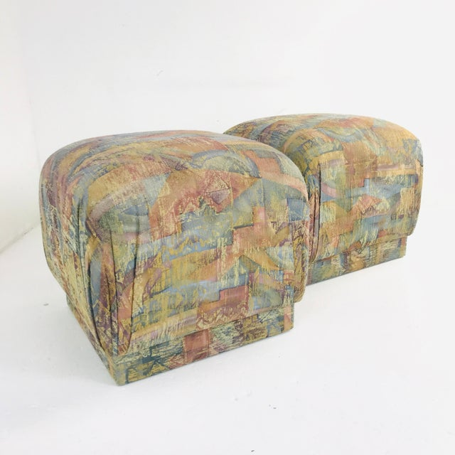 Textile Pair of Pouf Ottomans With Plinth Base For Sale - Image 7 of 12