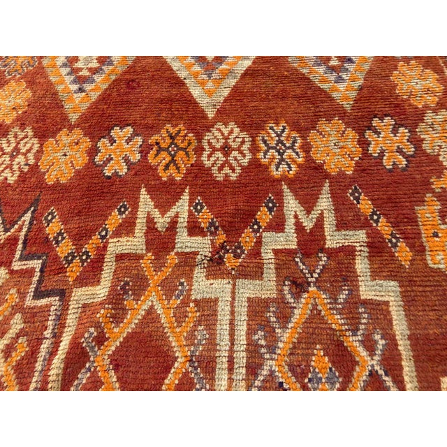 Persimmon Moroccan Vintage Hand-woven Marrakech Tribal Rug, circa 1960 For Sale - Image 8 of 13