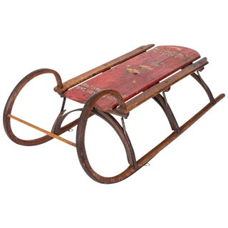 19th-Century Bentwood and Iron Ram Horn Sled For Sale