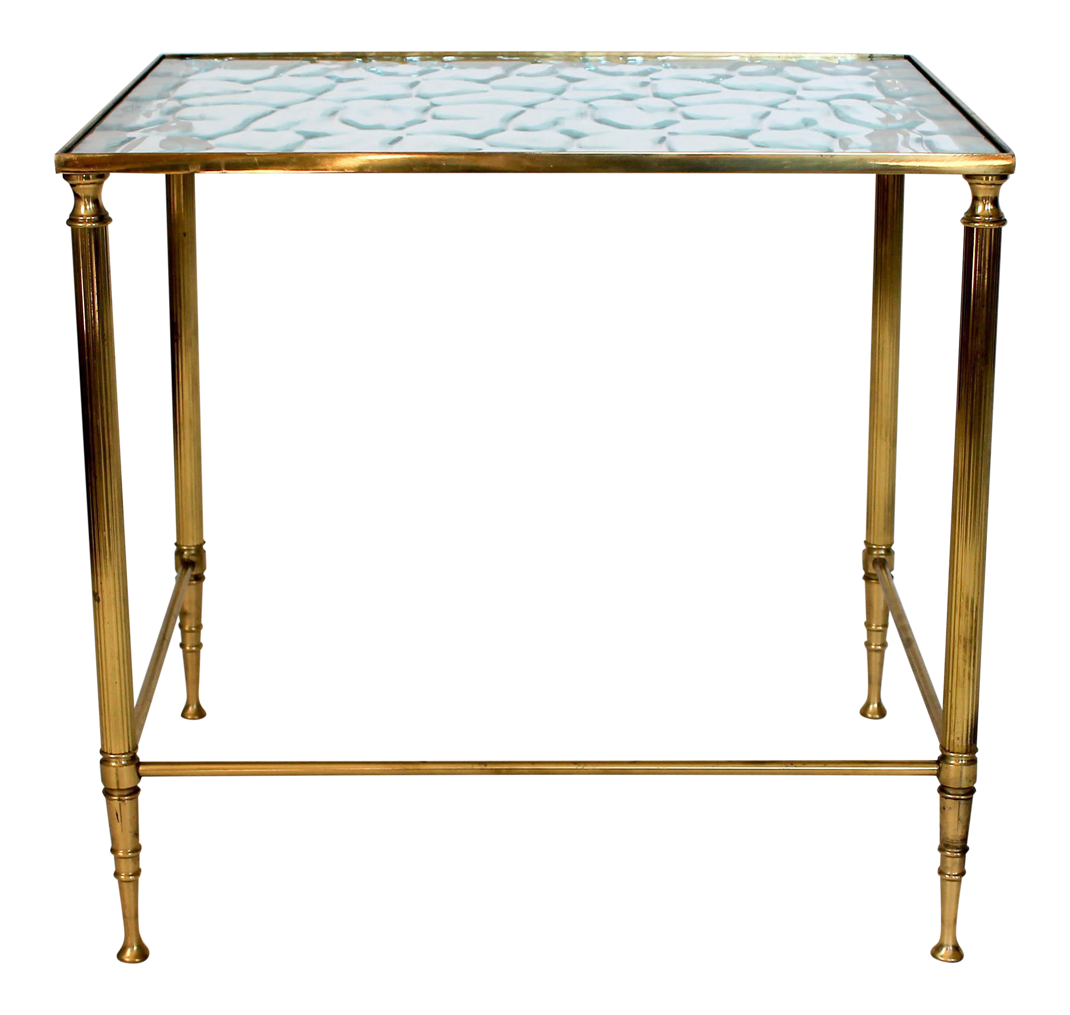 Small Brass And Glass Side Table For Sale