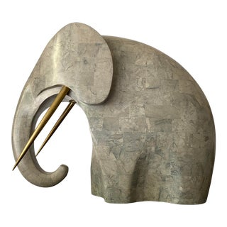 1980s Tessellated Stone Elephant Sculpture For Sale