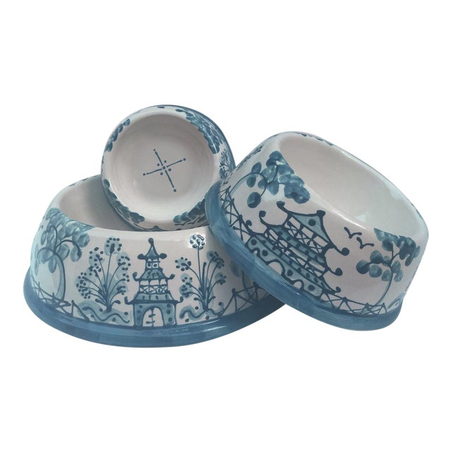 This hand painted ceramic caribbean blue chinoiserie pet bowl is the perfect gift for the stylish cat or dog! It is...