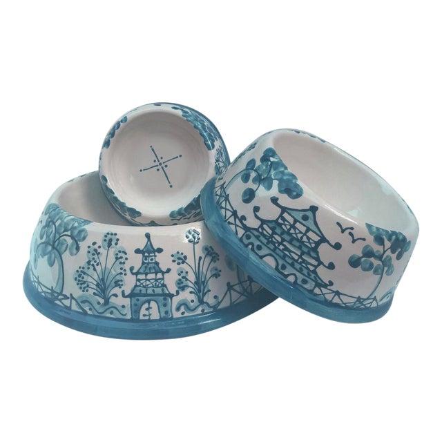 Caribbean Blue Chinoiserie Dog Bowl - Image 2 of 4