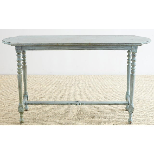 Robin's Egg Blue Painted Console Sofa Table For Sale In San Francisco - Image 6 of 13