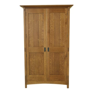 Stickley Mission Oak 2 Door Armoire Wardrobe Cabinet For Sale