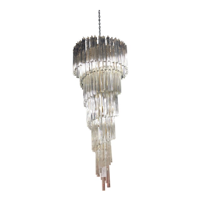 Vintage Murano Crystal Chandelier For Sale