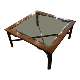 Square Glass Insert Wooden Coffee Table For Sale